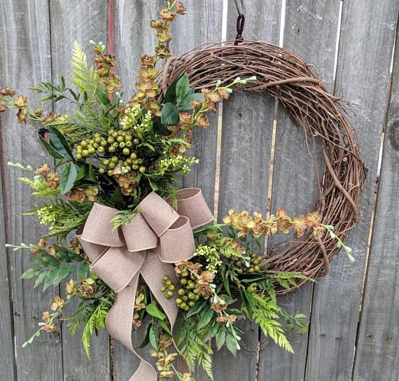 Door Wreath, Year Round Door Wreath With Natural Green Wreath, Door Wreath,  Front Door Wreath, Spring Wreath, Berries And Blooms Burlap | Round Door,  ...