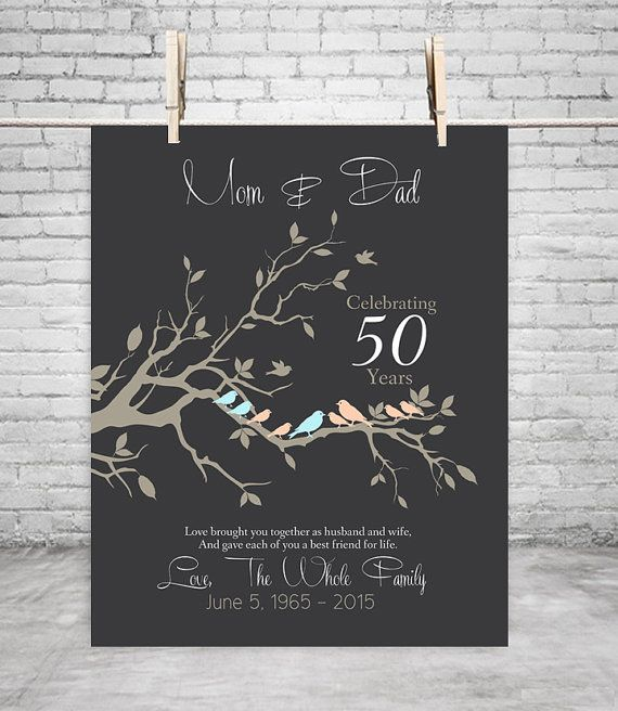 Golden Wedding Gift Ideas For Parents: 50th Anniversary Gift Anniversary Gift For Parents GOLDEN