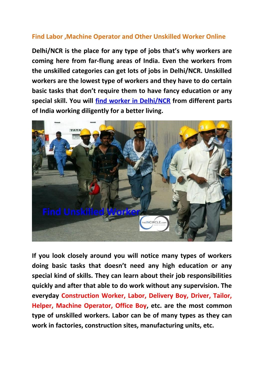 Hire Labor Machine Operator And Other Unskilled Worker Online  Labour