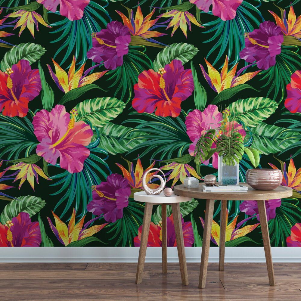 Tropical Hibiscus Removable Wallpaper Tropical Wallpaper Etsy In 2021 Tropical Wallpaper Jungle Wallpaper Floral Wallpaper