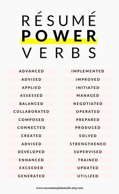 Action Verbs For Resumes Resume Power Verbs And Resume Tips To Boost Your Resume  In Print