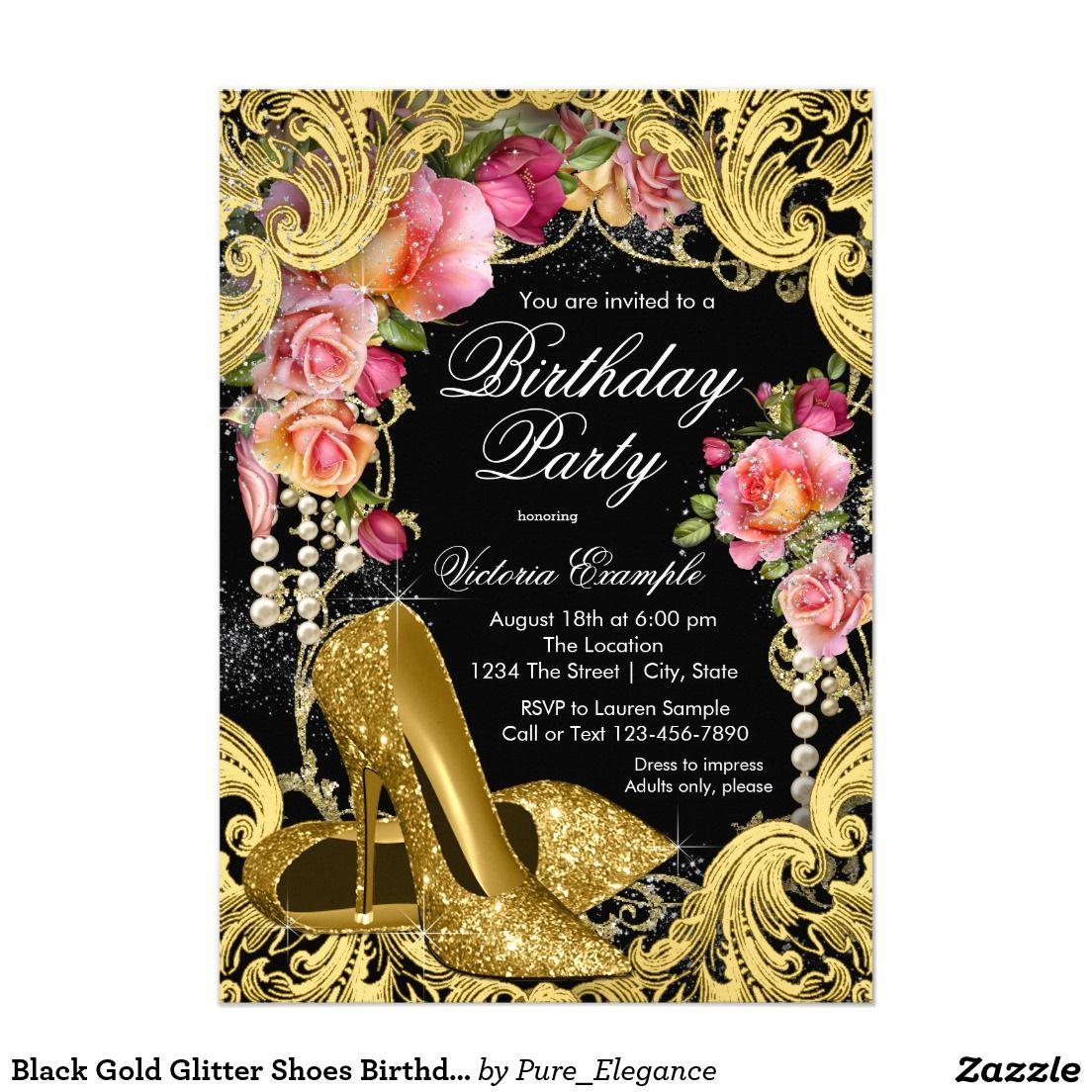 Black Gold Glitter Shoes Birthday Party Invitation | High Heels Shoe ...
