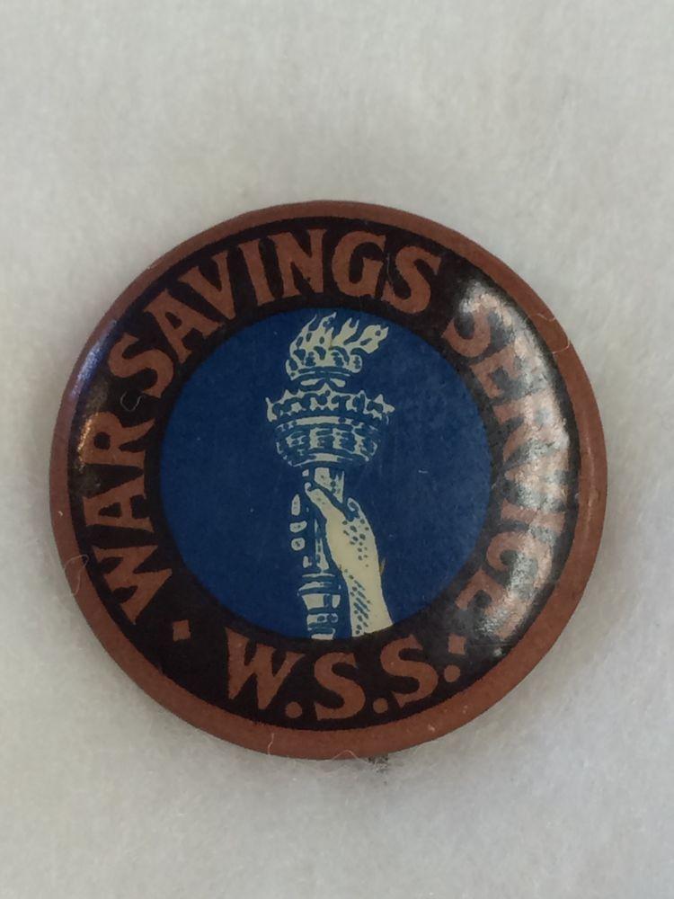 detailed look e91bd 6e10d Vintage WW I - War Savings Service W. S. S. Pinback Pin -  2 - Free Shipping !!
