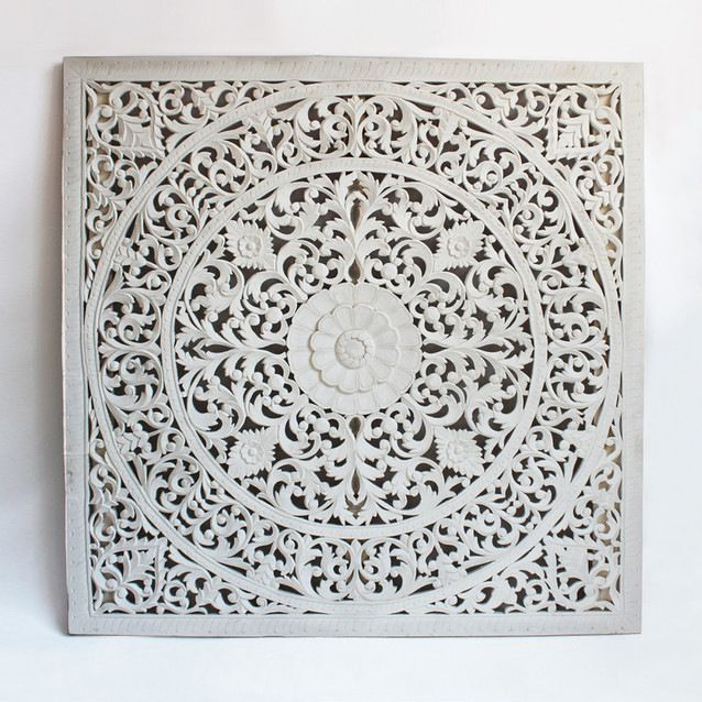 Large Hand Carved Mango Wood Panel Beautiful Floral Designs Painted Bright White Amazing Piece U Wood Carving Furniture Wood Carving Designs Balinese Decor