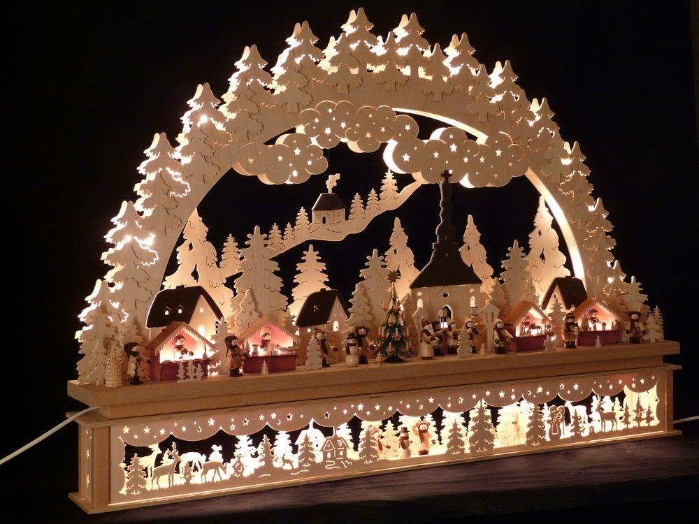 Weihnachtsbeleuchtung Lichterbogen.Original Erzgebirgischer Schwibbogen Erhöhung Große Auswahl