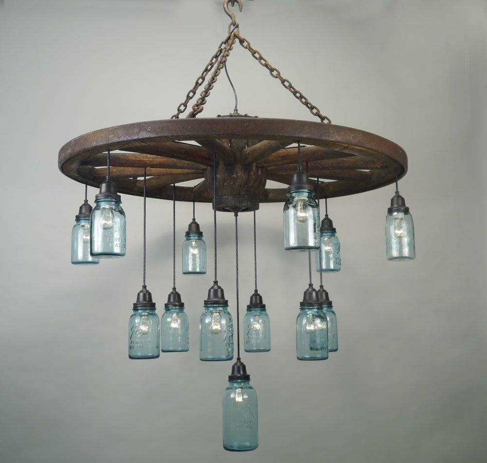 Wagon Wheel Rustic Chandelier Western Decor Pendant Light: Vintage Canning Jar Chandelier
