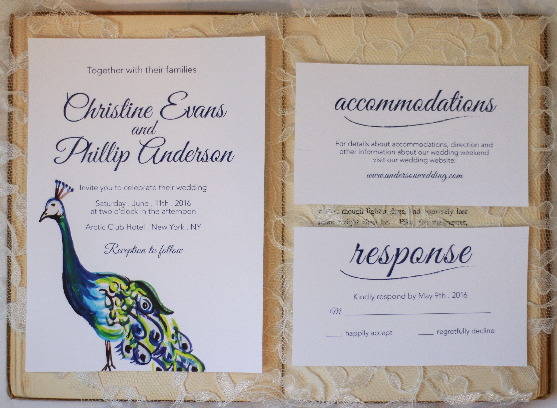 Custom hand painted wedding Invitation, enclosure and RSVP. Facebook ...