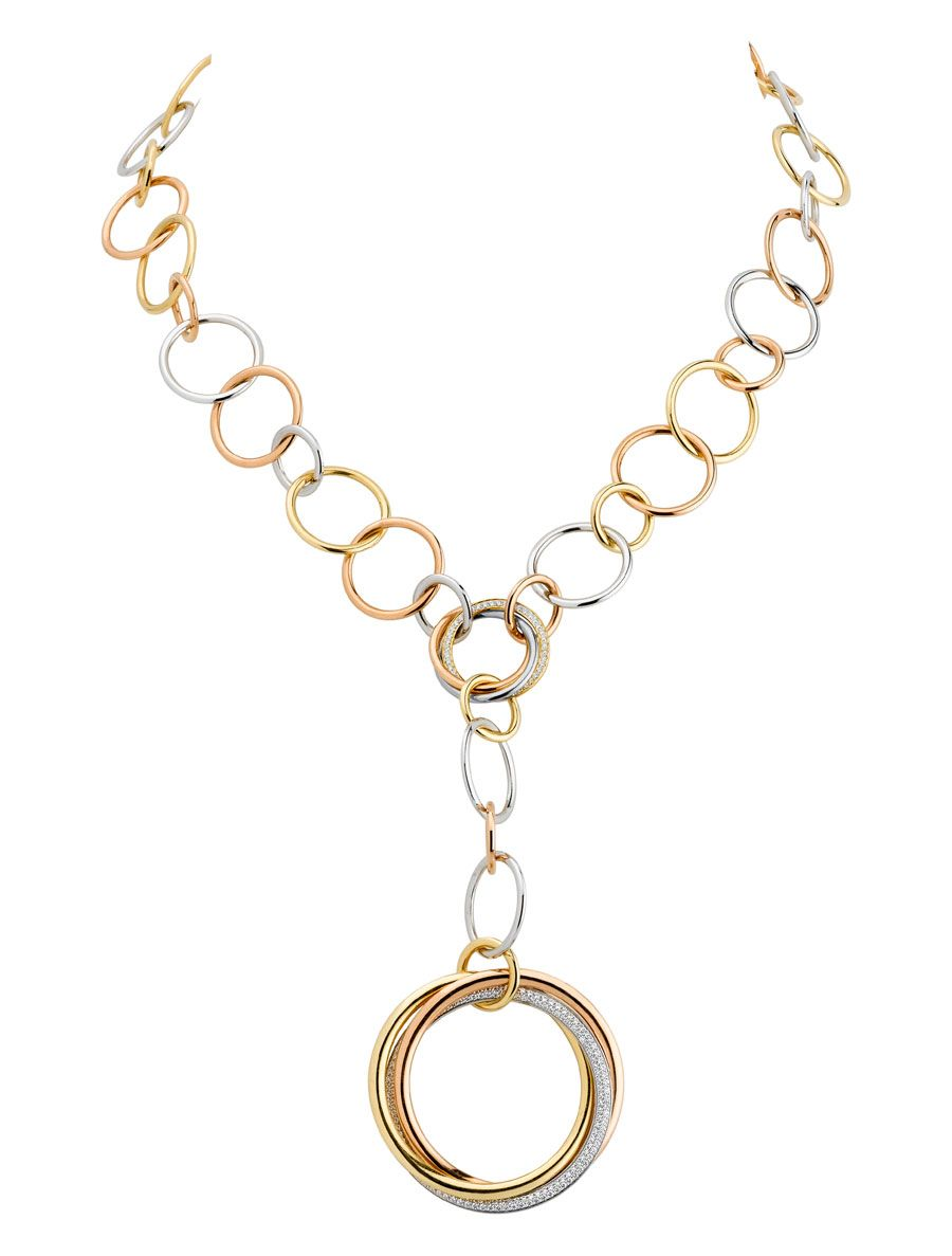 in jewelry lanvin gold gallery lyst product necklace normal chain collar tube metallic band