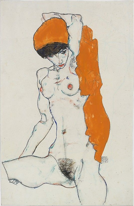 Standing Nude with Orange Drapery  Egon Schiele