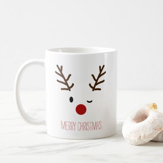 Cute Winking Rudolf Reindeer Christmas Coffee Coffee Mug | Zazzle.com