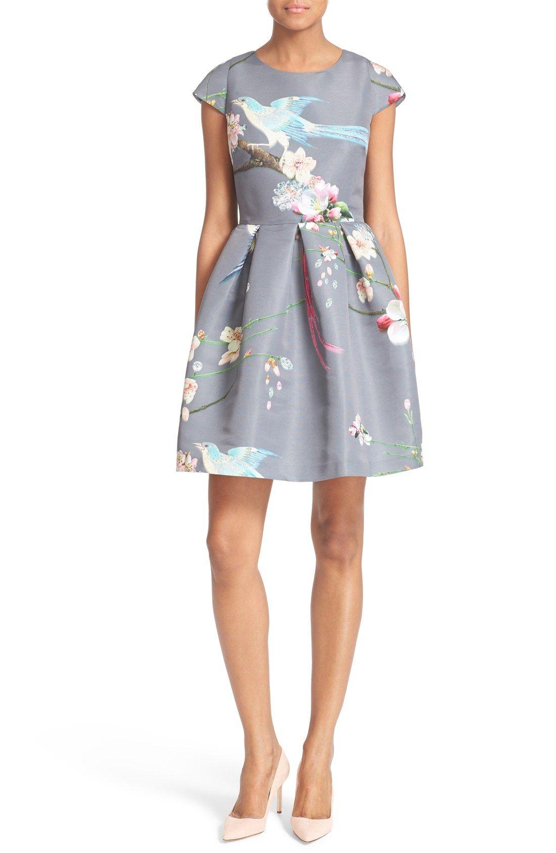9b5eb3026ba Ted Baker London  Zaldana  Floral Print Fit   Flare Dress