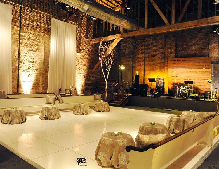 Weddings Avon Theater Birmingham AL Dance Floor With Draped Walls Uplighting In The