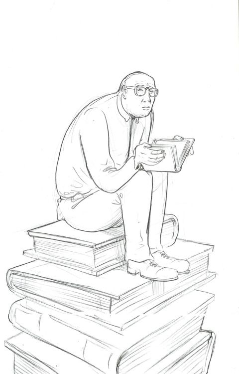 Reading on a stack of books.  (Miguel Almagro)