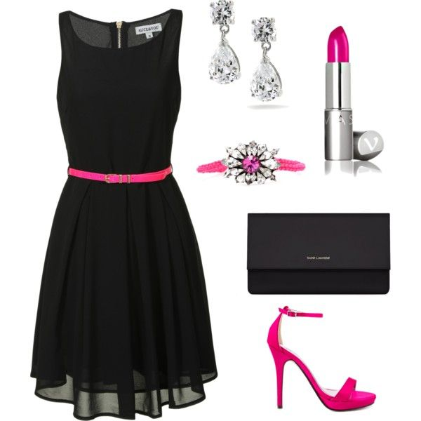 """Little Black Dress with a Touch of Pink"" by designs-cek on Polyvore"