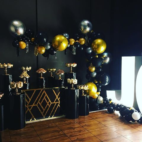 Black Gold And Silver Balloon Decorations Black Gold Party