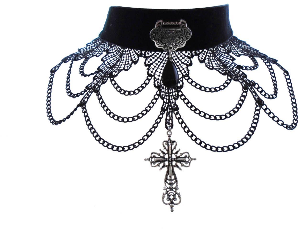 Black Cameo Collar Choker Necklace Halloween Ribbon Victorian Vampire Costume
