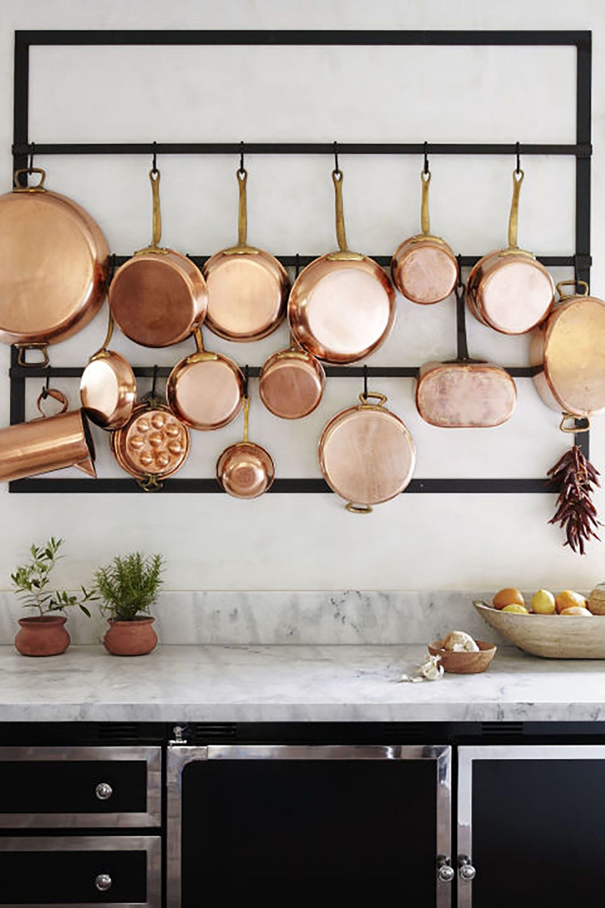 5 Kitchens That Inspire Large Hanging Rack For Copper Pans Interior Design Kitchen Kitchen Remodel Home Decor Accessories
