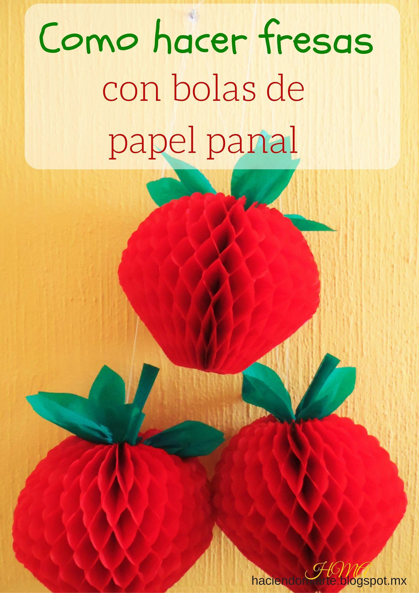 Como hacer fresas con bolas de papel panal nunca dejes de - Como hacer manualidades de papel ...