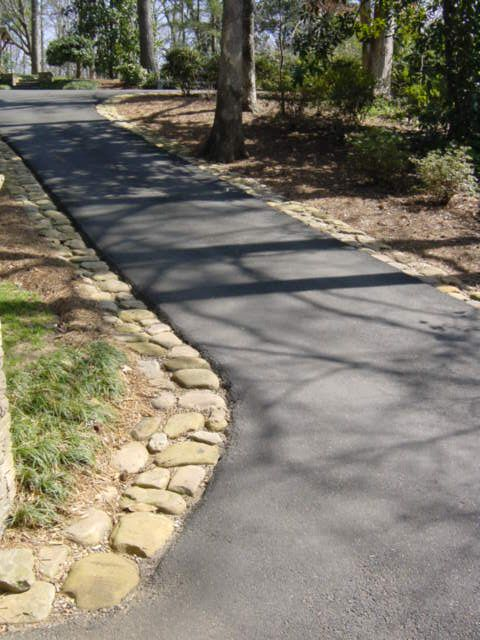 asphalt with river rock edge - example photo of driveway details