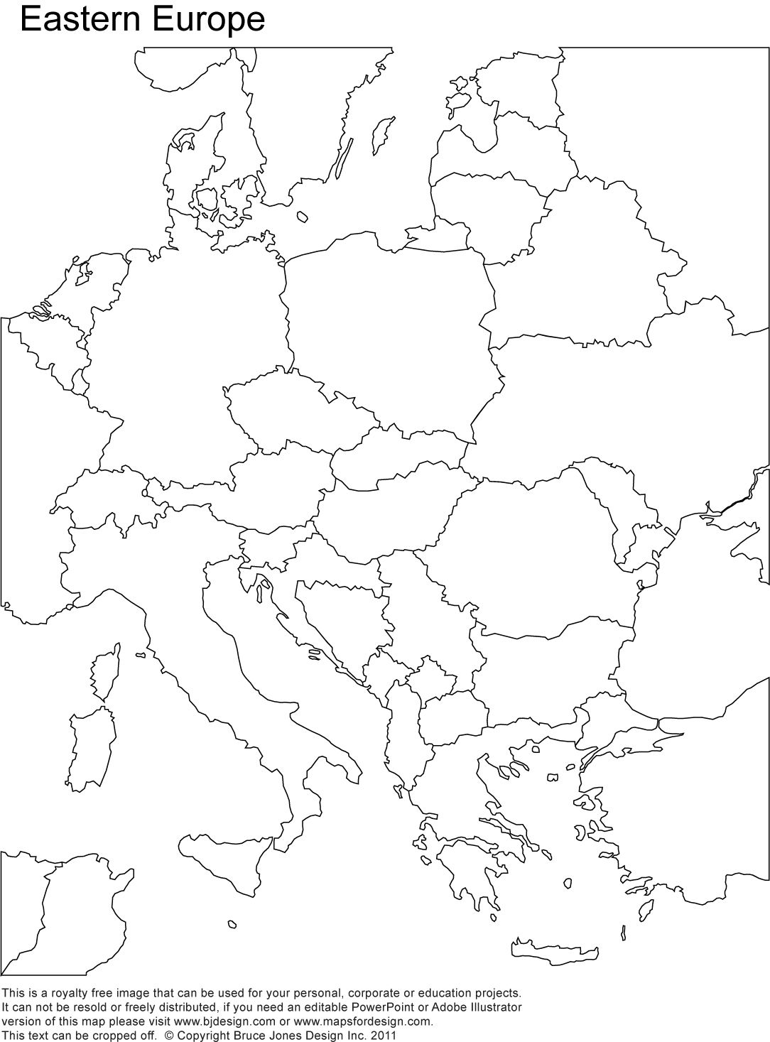 Eastern Europe Printable Blank map royalty free country borders