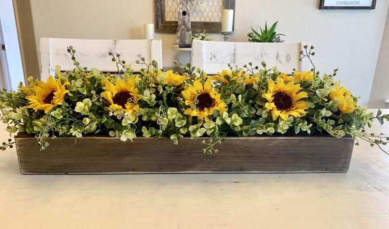 Sunflower Floral Arrangement Farmhouse Kitchen Island Centerpiece Fall Dining Room Table Rustic Floral Arrangement Mantle Decor Fall Dining Room Table Sunflower Floral Arrangements Fall Dining Room
