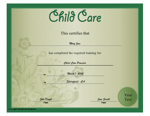 a floral green child care certificate recognizing training in day ...