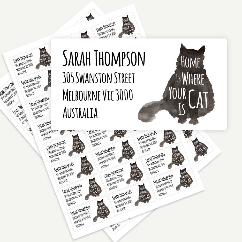 Printed personalised sticker labels return address home is where your cat is black cat cat lover envelope seals