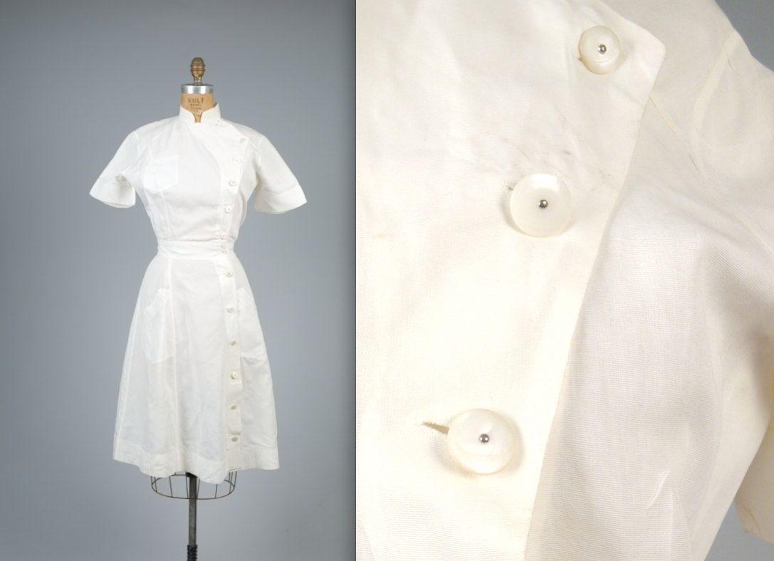 White pinafore apron nurse - Vintage 1940s Authentic Nurse Uniform With Antique Mother Of Pearl Buttons Medical White Dress