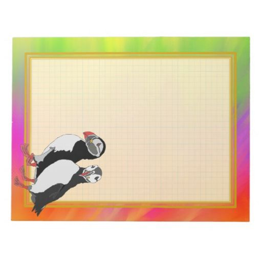 Grid Lined Puffin Pair Colorful 8.5x11 Note Pad