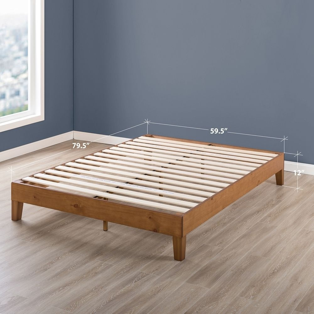 Queen Size 12 Inch Grand Solid Wood Platform Bed Frame Natural