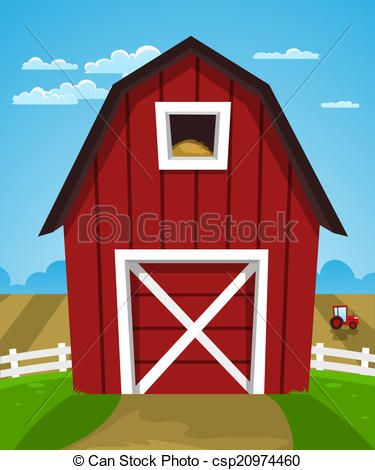 Red Barn And Tractor Clip Art