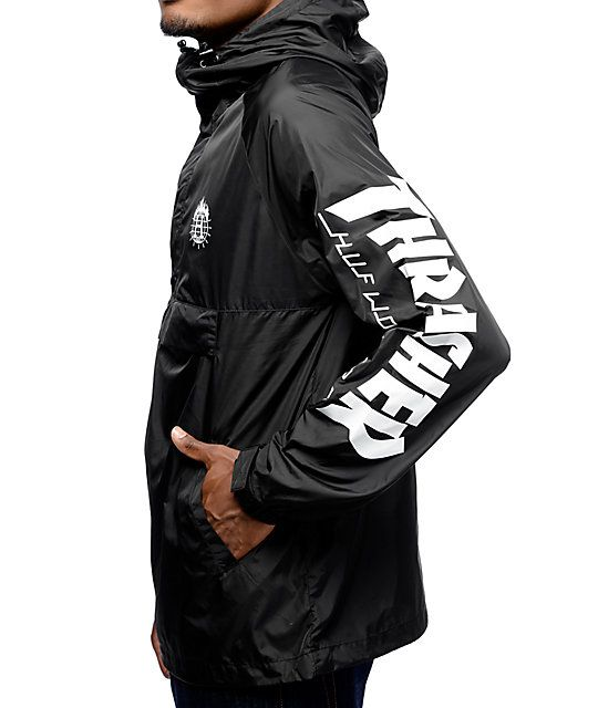 fbc62a208921 HUF x Thrasher TDS Black Anorak Windbreaker Jacket