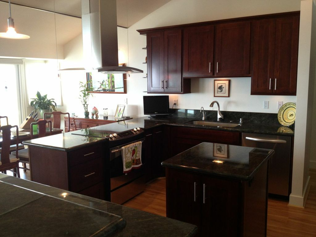 Breathtaking dark brown color maple wood espresso kitchen for Cappuccino color kitchen cabinets