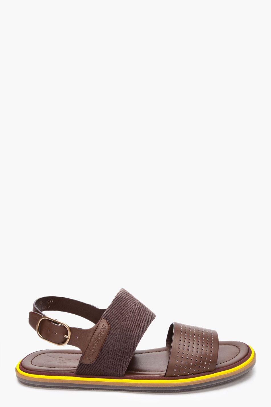SandalsFlat Perforated Laurent Yves Saint Leather 8Pwn0Ok