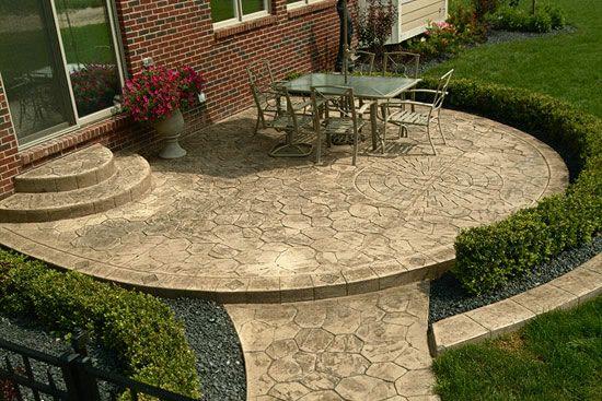 stone patio designs cement patios gallery 44. Black Bedroom Furniture Sets. Home Design Ideas