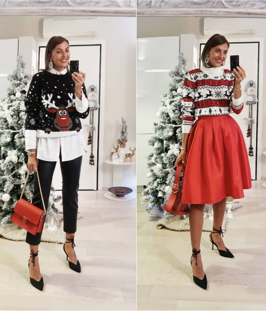 """Cristina Surdu's Instagram post: """"5 outfits with the  #christmas #sweaters 🎅🎅🎅. Your fav? And your fav #christmaslook? All sweaters are from @boohoo 🎅 •• #sweaterweather…"""""""