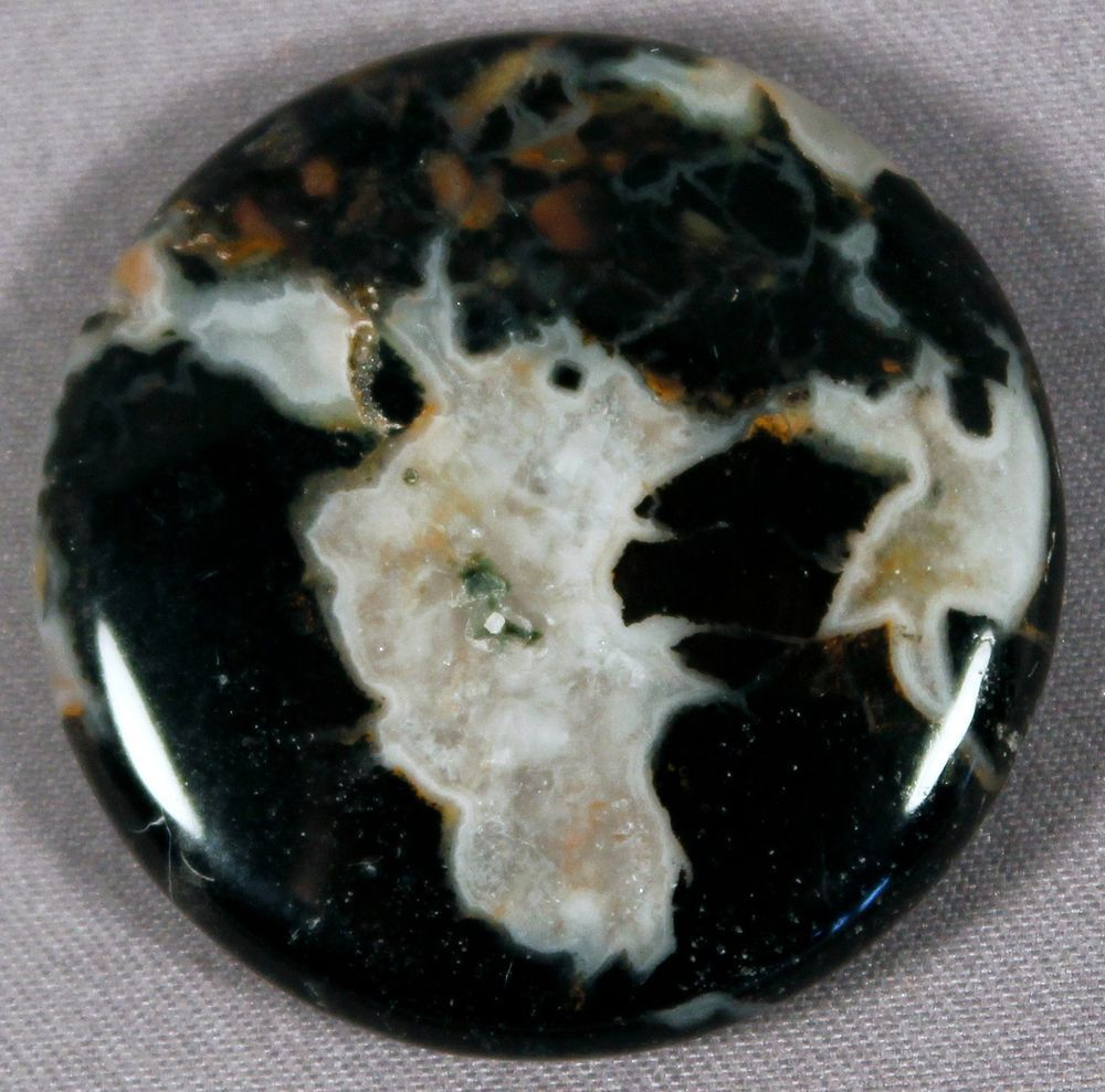 ELEGANT BLACK SILVER LEAF JASPER 30MM COIN BEAD PETRIFIED WOOD DROP DRILLED