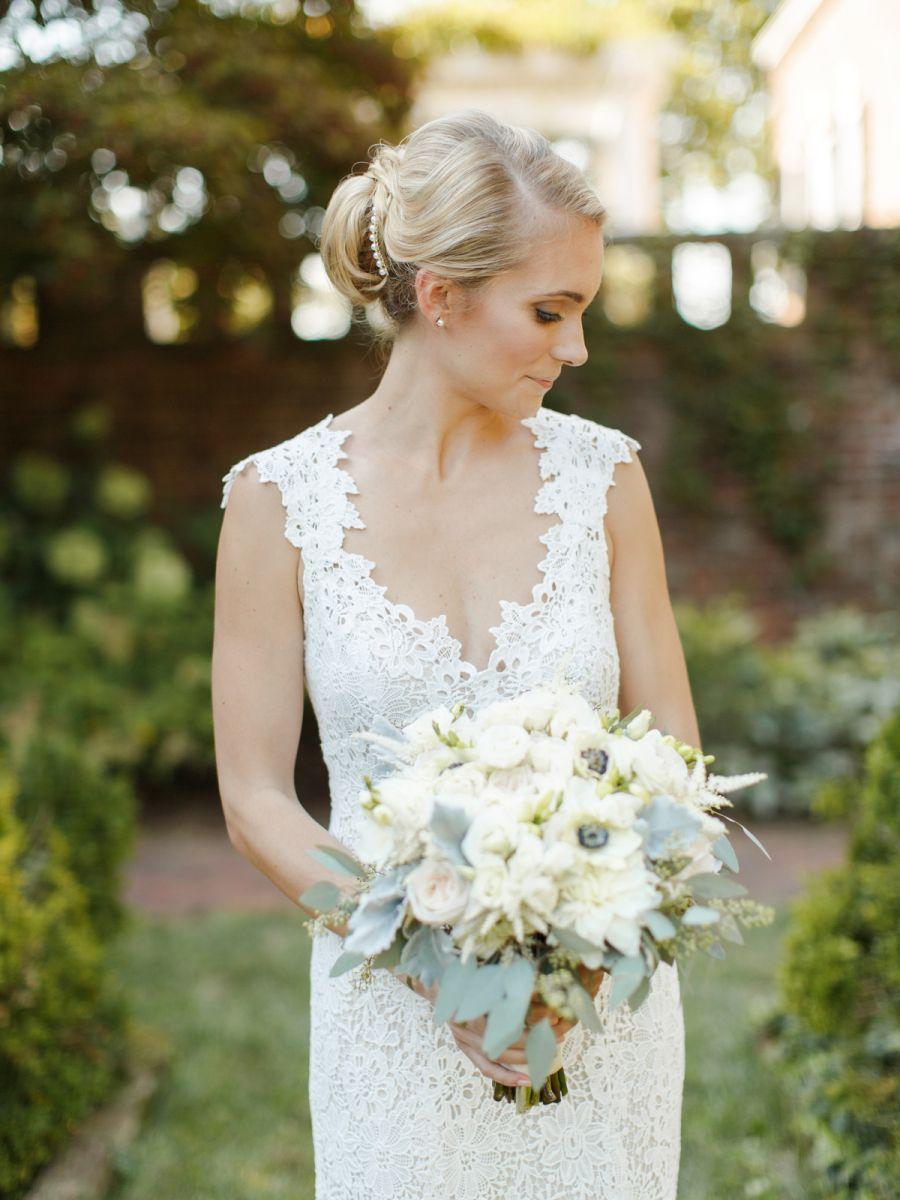Floral Design: Blue Ridge Floral - http://www.stylemepretty.com/portfolio/blue-ridge-floral Wedding Dress: Monique Lhuillier - www.moniquelhuillier.com/ Photography: Rachel May Photography - http://www.stylemepretty.com/portfolio/rachel-may-photography   Read More on SMP: http://www.stylemepretty.com/2016/01/21/traditional-meets-rustic-verulam-farm-wedding/