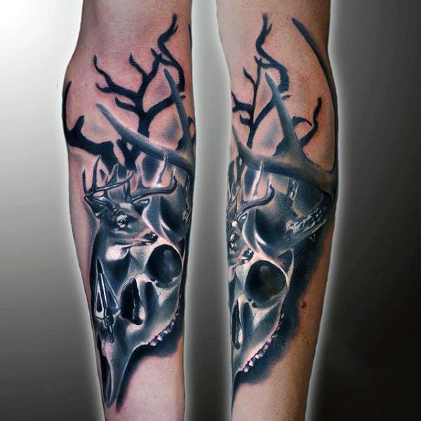 Forearm Deer Skull Tattoo Designs For Guys | Tattoo Ideas ...