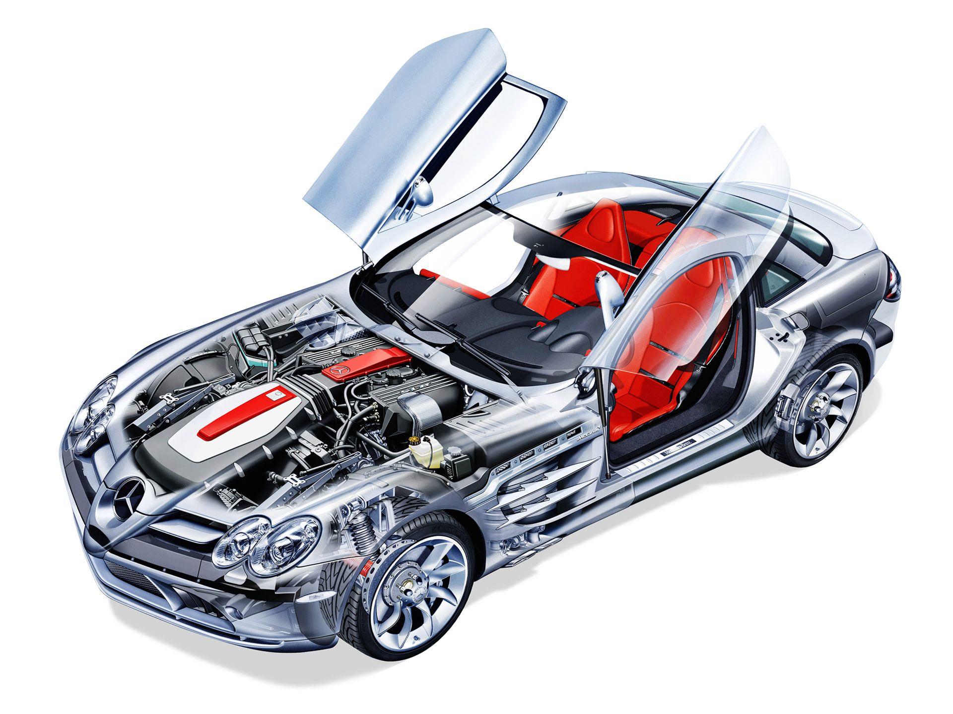 MERCEDES BENZ SLS AMG CAR CUTAWAY POSTER PRINT 24x36 HI RES 9 MIL PAPER
