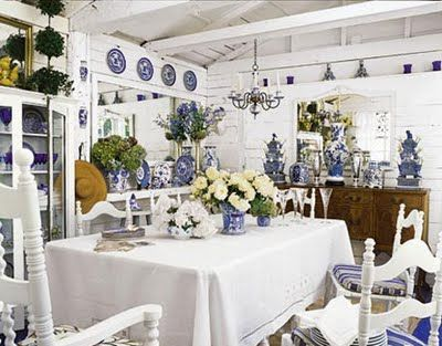 Blue and white porcelain.