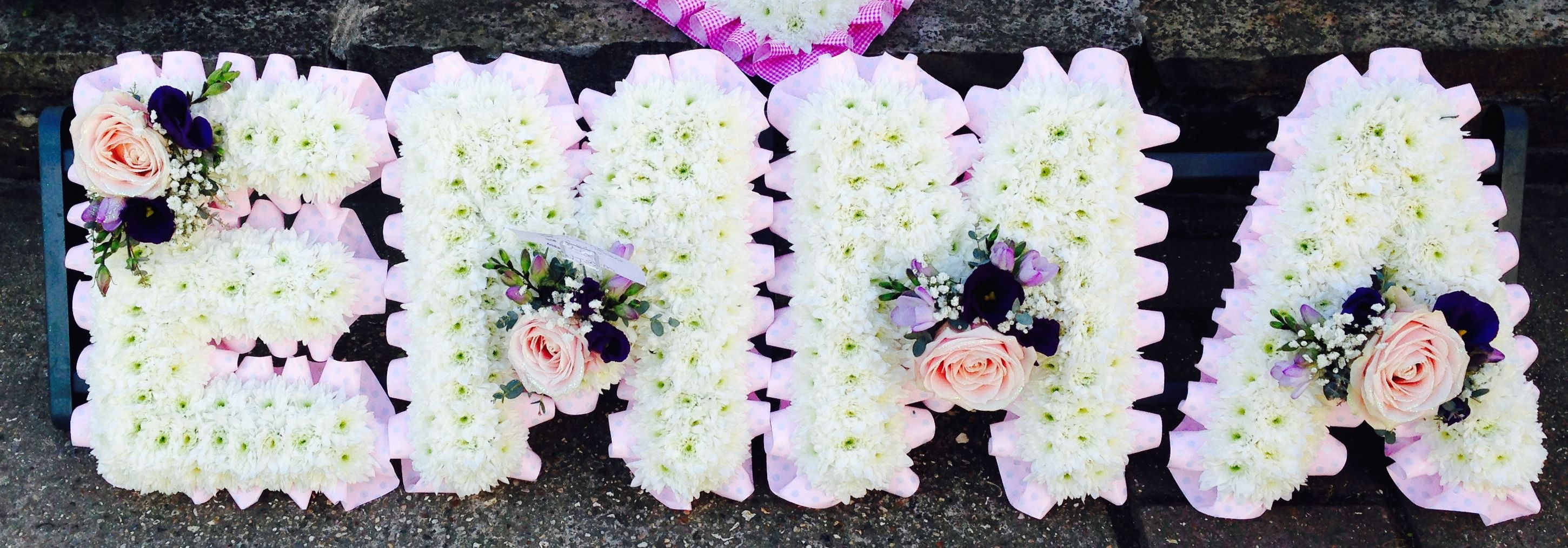 Funeral Flowers Emma Funeral Flower Letter Tribute Pretty Pink And