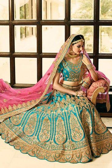 b0df26929f Sky Blue Satin And Silk Lehenga With Silk Choli - DMV12028 | Bridal ...