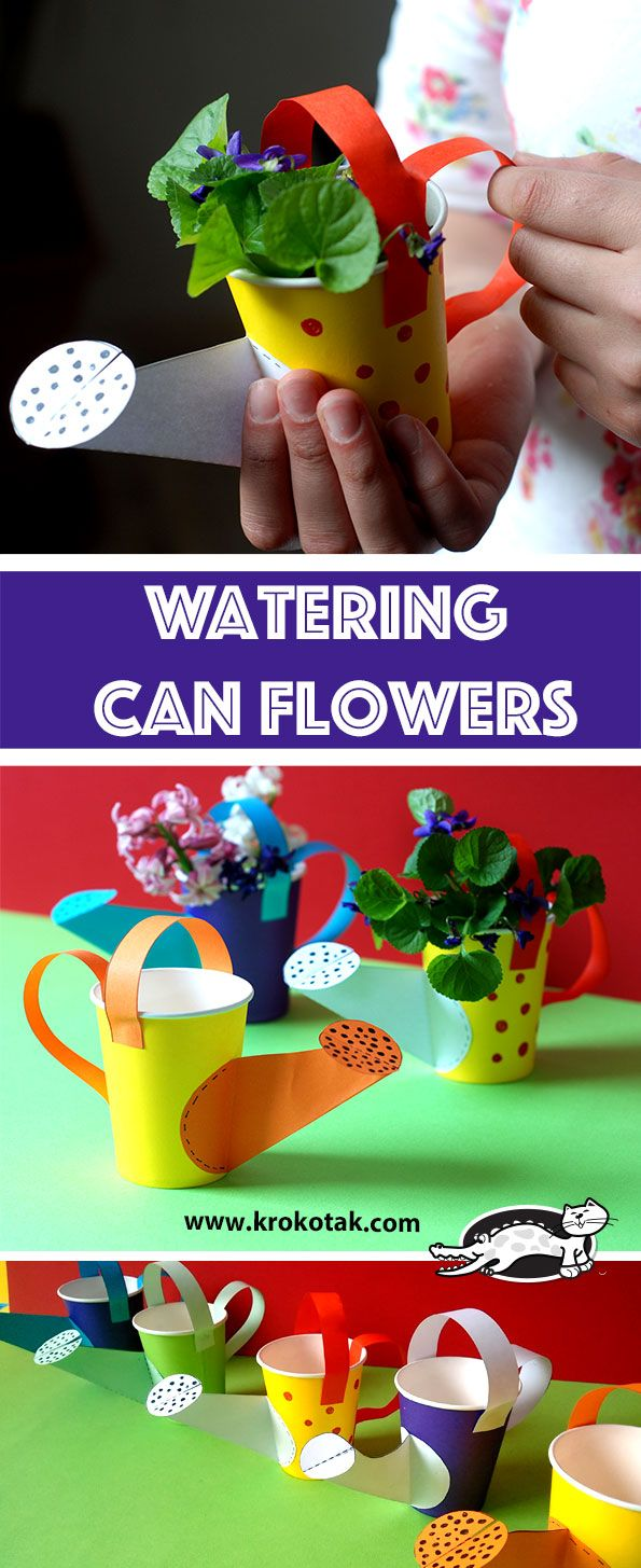 DIY Watering Can Flowers Paper cup crafts, Craft