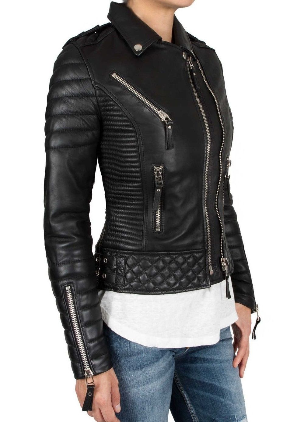 4451036d4b83 New Handmade Leather Skin Women Black Padded Diamond Quilted Brando Leather  Jack - Coats   Jackets