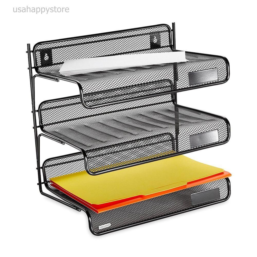 Rolodex Desk Shelf Organizer 3 Tier Plastic Storage Tray Document Holder  Office #Rolodex