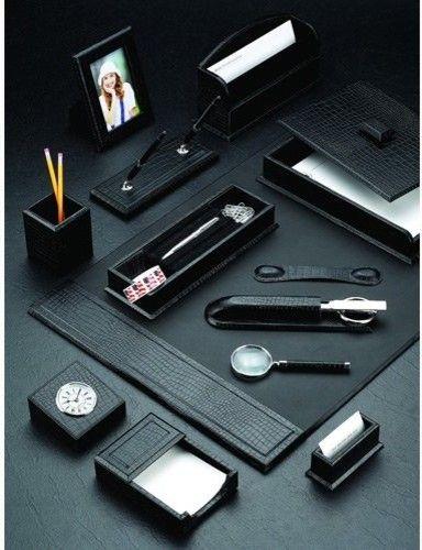 Winchester Brown Croco Leather 3 Piece Desk Set Contemporary