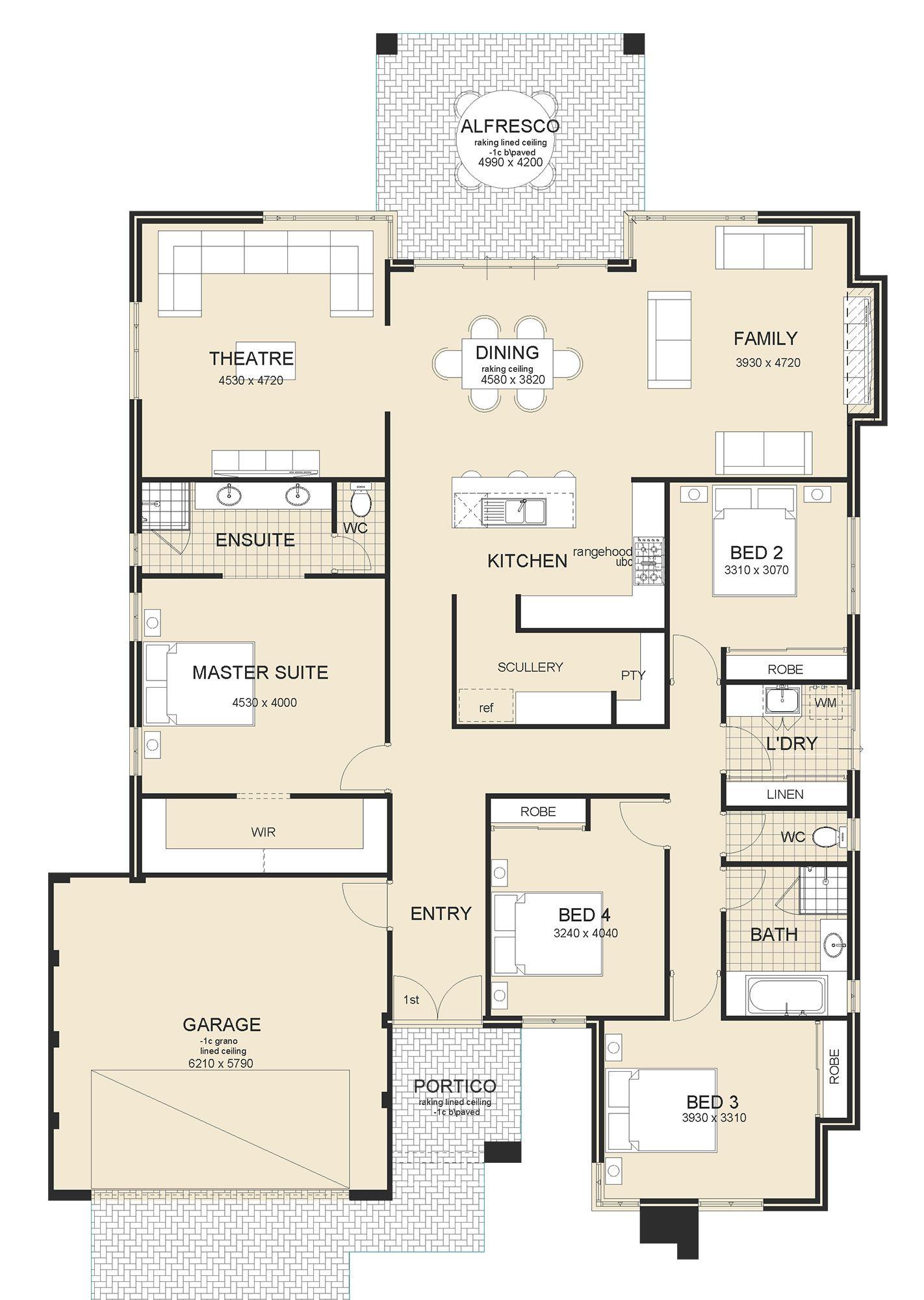 The Hampton Springs In 2020 Single Storey House Plans Home Design Floor Plans Dream House Plans