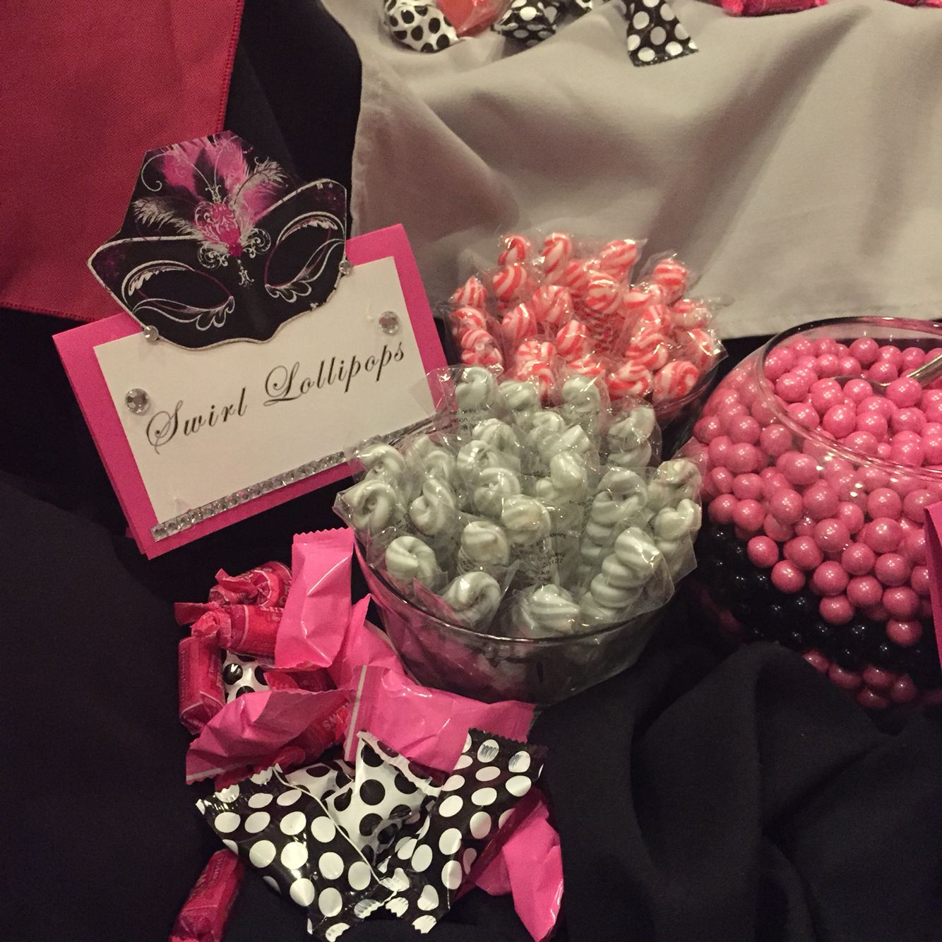 Pink black and white sweet 16 sixteen theme masquerade party ball