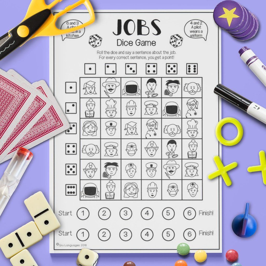 Jobs 'Dice Game' English worksheets for kids, Teach